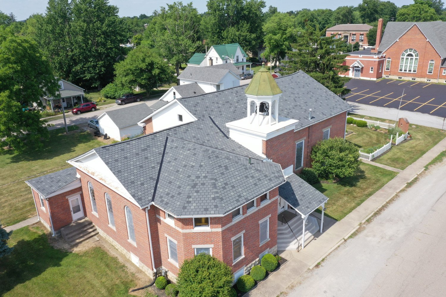 Drone shot of Cedarville United Methodist Church after roof replacement