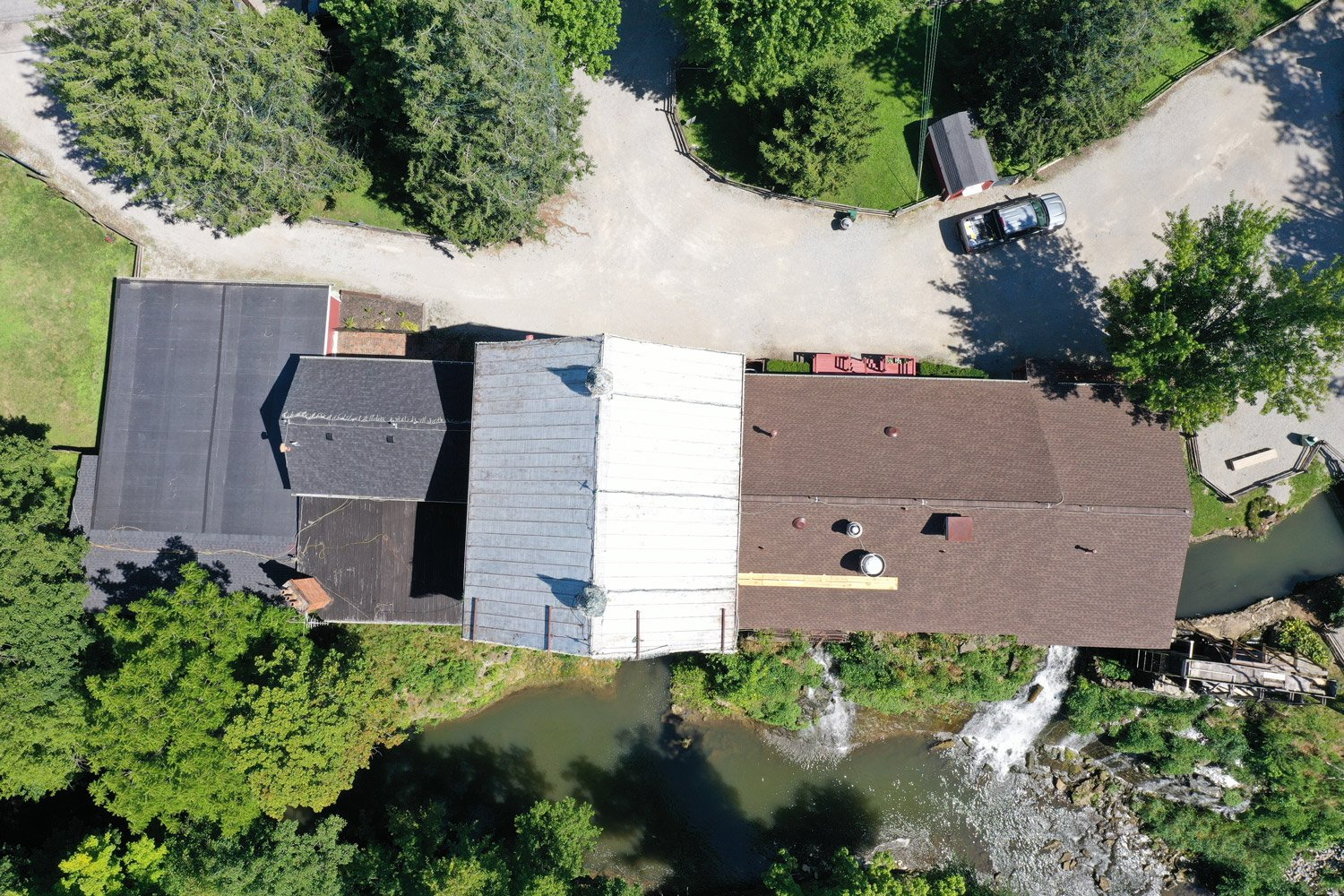 Drone shot of Historic Clifton Mill roof replacement